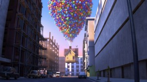 :house floating on balloons through the hardcore streets of city life: