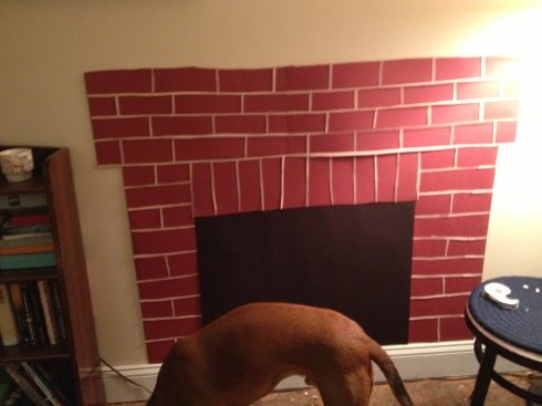 Fireplace and mantle done, plus bonus shot of Buckley's hot bod.